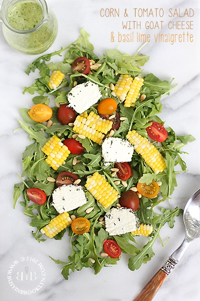 Corn, Heirloom Tomato & Goat Cheese Salad with Basil Lime Vinagrette – Busy in Brooklyn