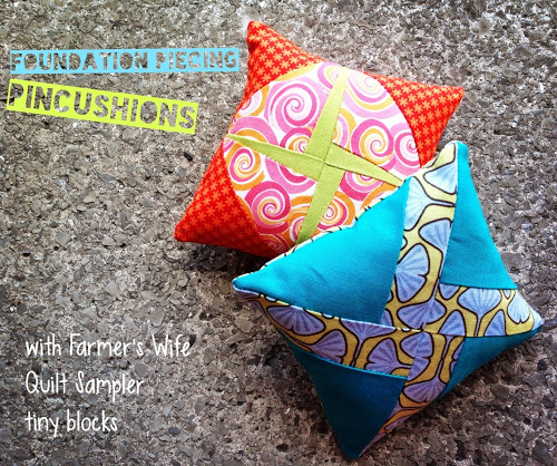 Tiny foundation piecing pincushions with free template | Sewn Up