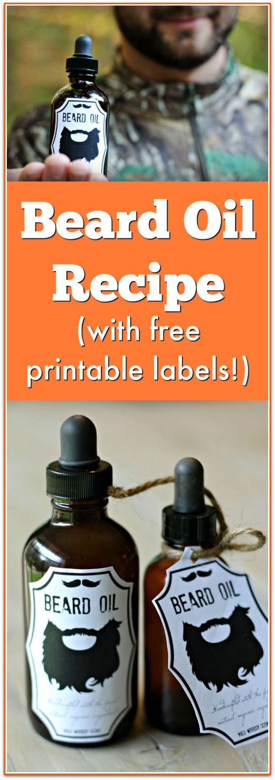 beard oil recipe with free printable labels